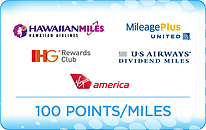 100 points/miles for popular airline and hotel loyalty programs