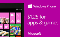 $1.25 for apps and games on Windows Phone 8