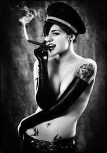 female smoking captain black cigar picture 2