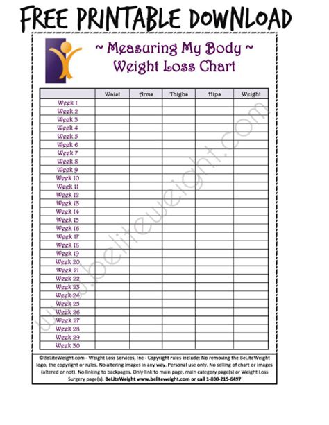 printable weight loss charts picture 2