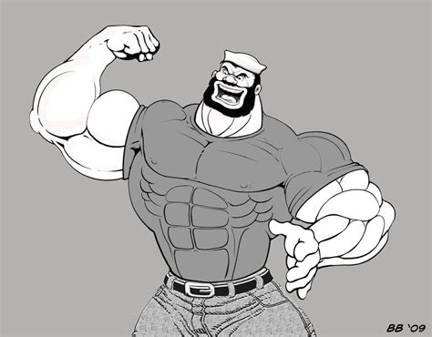 cartoon drawing of muscle man at beach picture 8