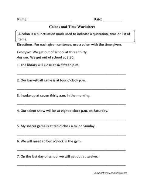 colon grammar worksheets picture 1