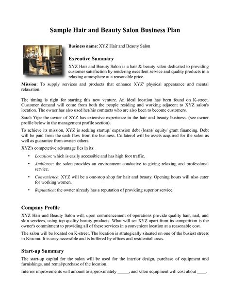 samples business plan for hair products picture 1