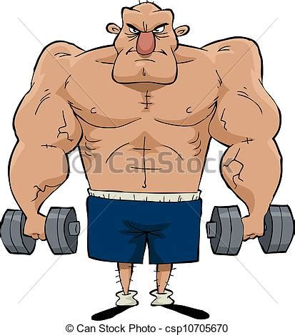 cartoon drawing of muscle man at beach picture 5