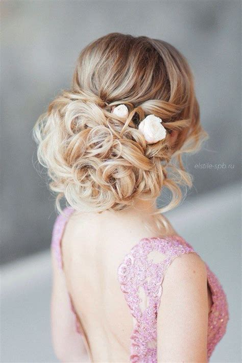 curly frizzy hair updo for wedding picture 10