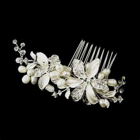 bridal hair comb rhinestone pearl picture 2