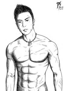 drawing of beach muscle man picture 10