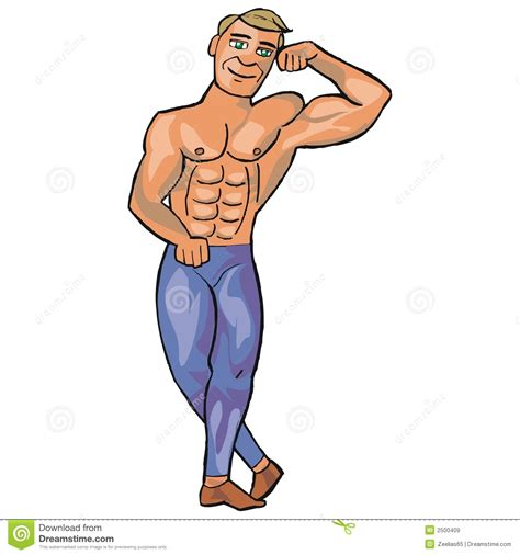 cartoon drawing of muscle man at beach picture 10