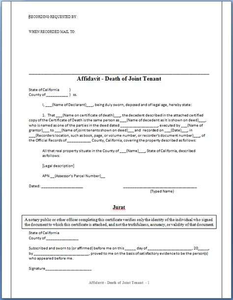 california affidavit of death of joint tenant picture 5