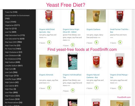 yeast free food picture 1