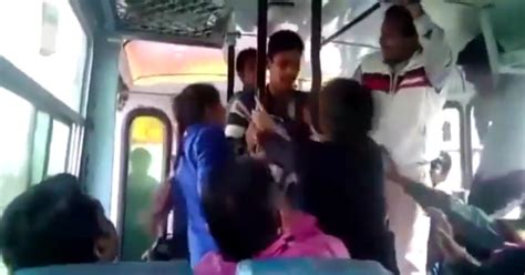 women touching up men on bus picture 4