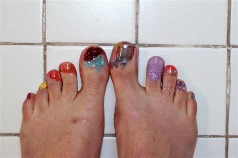 painting your toenails with nail polish. gets no picture 1