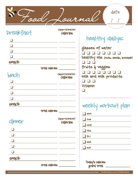 free printable diet journals picture 2