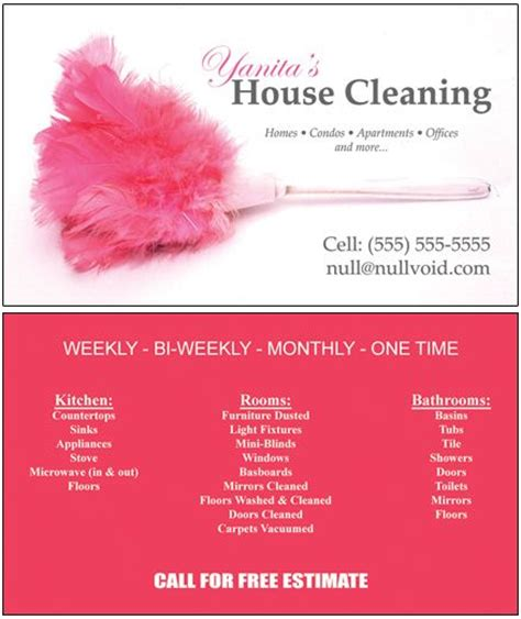 examples of business cards for home cleaning picture 8