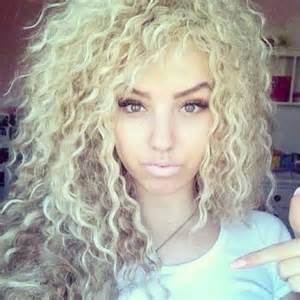 blonde curly long hair women picture 5