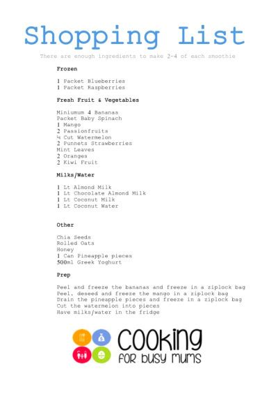 free weight loss shopping list picture 13