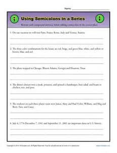 semicolon and colon grammar worksheets picture 2