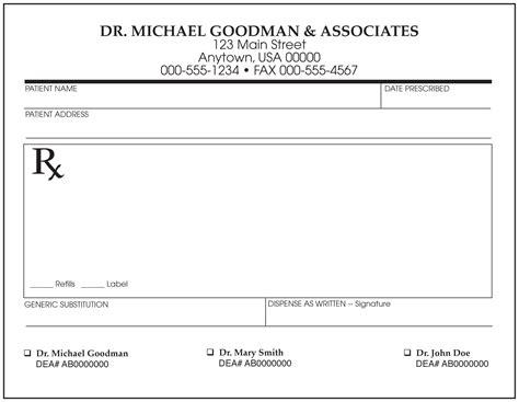 forms rx prescription sample example picture 2
