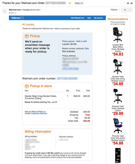 walmart online purchase confirmation picture 2