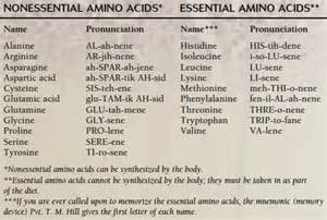9 essential amino acids and dietary source chart picture 5
