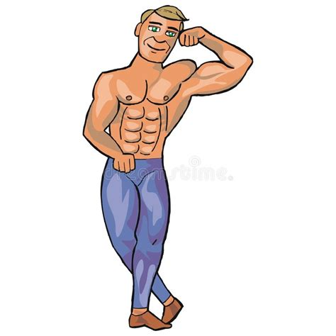 cartoon drawing of muscle man at beach picture 7