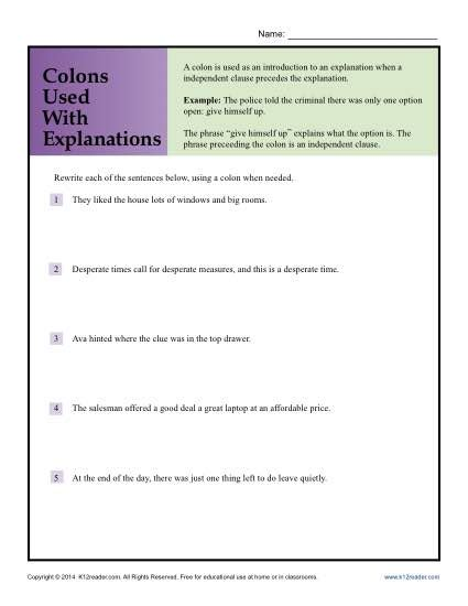 colon grammar worksheets picture 2