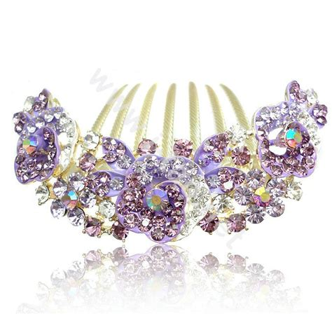 crystal flower hair clips picture 9