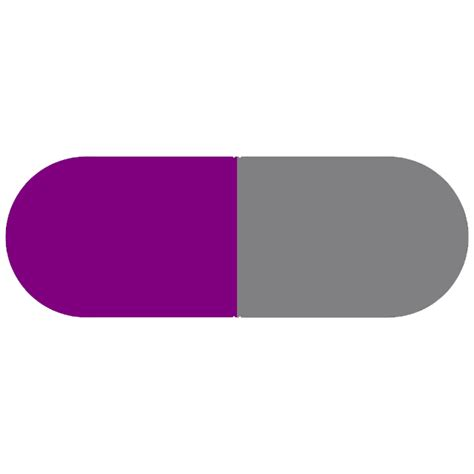 capsule is purple and gray and has the picture 2
