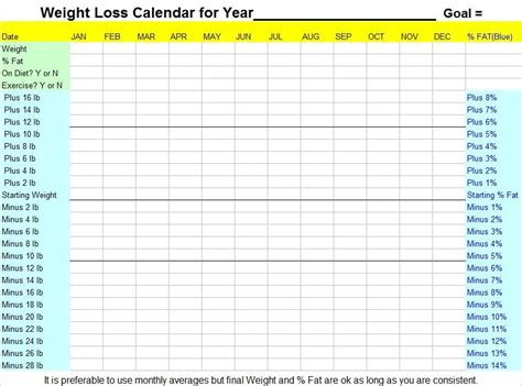 weight loss calendar picture 2