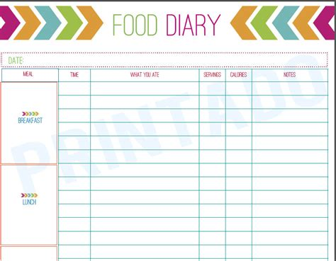 free printable diet journals picture 6