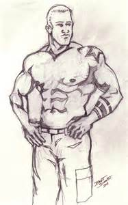 drawing of beach muscle man picture 15