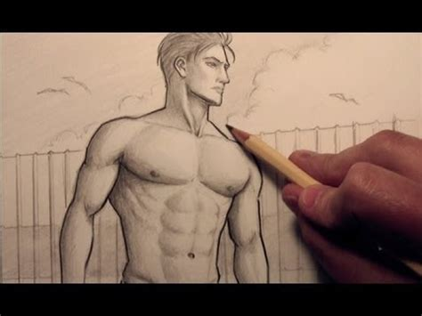 drawing of beach muscle man picture 3