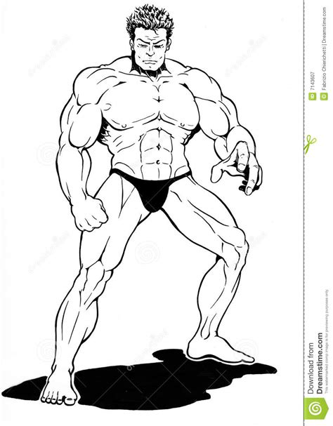 drawing of beach muscle man picture 18
