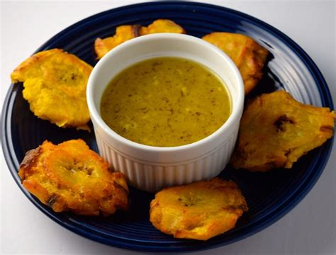 fried green plantains with garlic sauce picture 2