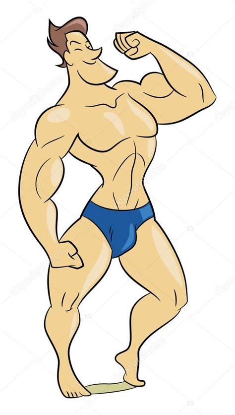 cartoon of muscle beach man picture 13