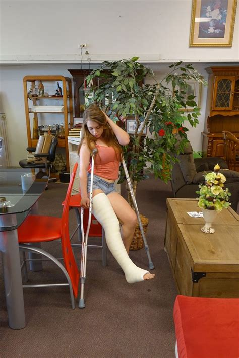 beautiful legs with sexy leg casts with high and crutches picture 2