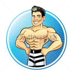 cartoon drawing of muscle man at beach picture 6