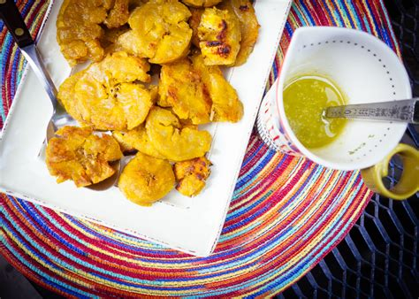 fried green plantains with garlic sauce picture 1