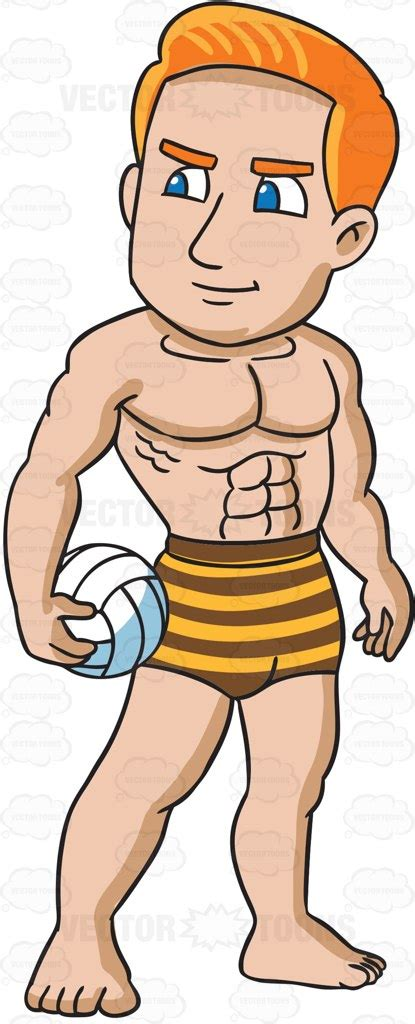 cartoon drawing of muscle man at beach picture 1