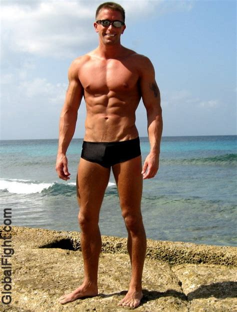 muscle men on beach picture 9