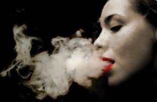 woman blowing smoke picture 5