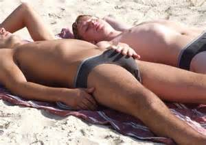 male bulge touch in the beach picture 2