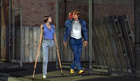 women crutching picture 1