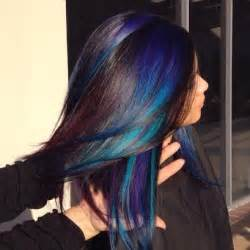 black hair with streaks and colors picture 2