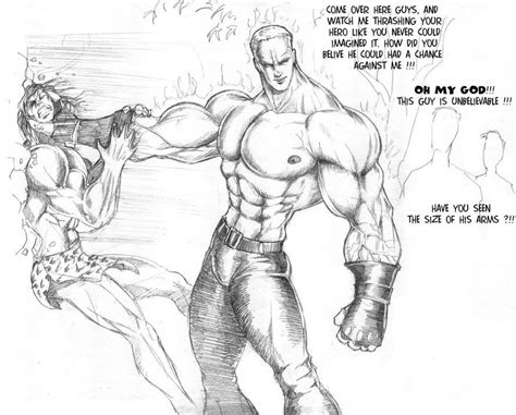 cartoon drawing of muscle man at beach picture 14