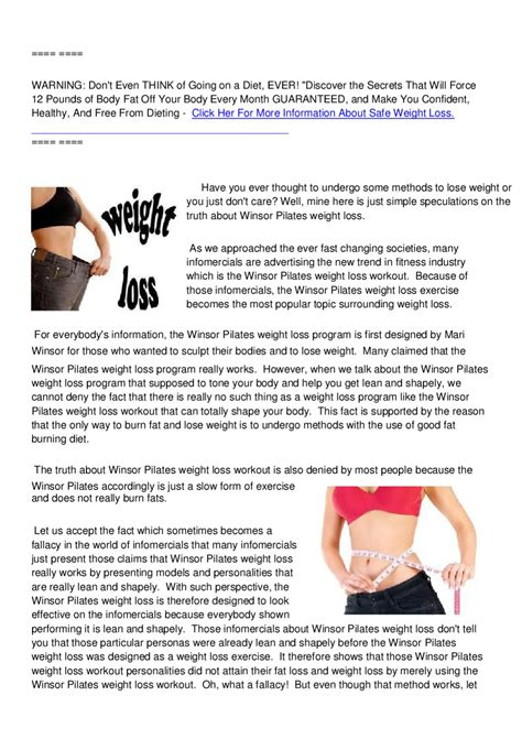 winsor pilates weight loss informercial picture 13