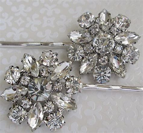 crystal flower hair clips picture 18