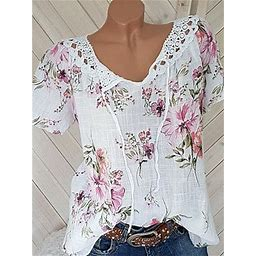 Berrylook Round Neck Lace Up Patchwork Lace Print Blouses Online Stores , Clothes Shopping Near Me, Silk Blouse, Cute Tops