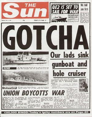 Image result for gotcha sun headline images