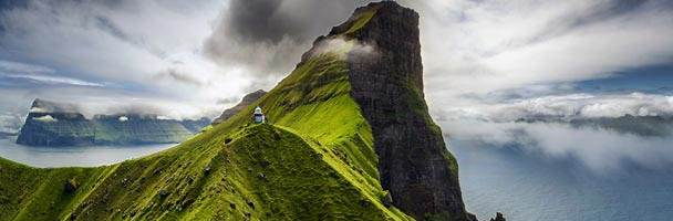Kallur lighthouse on Kalsoy Island, Faroe Islands